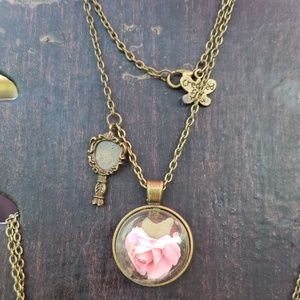 Beauty and the beast pink necklace